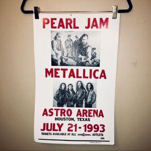 Pearl Jam x Metallica 1993 tour poster